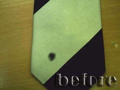 ネクタイの染み抜き前1