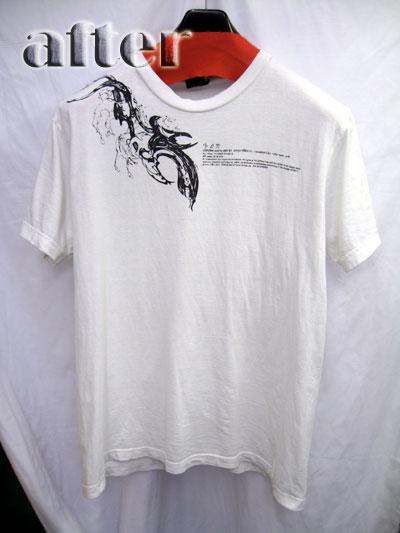 Tシャツの色移りの染み抜き後