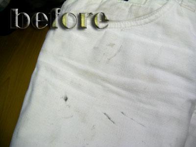ガッバーナ (DOLCE & GABBANA)ホワイトジーンズの染み抜き前