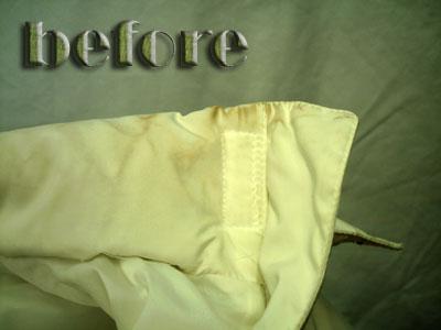 ダウンジャケットの襟・袖の汚れの染み抜き前