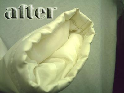 ダウンジャケットの襟・袖の汚れの染み抜き後