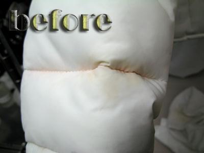 アバクロンビー&フィッチ Rylie Parkaダウンジャケットの移染の修復前